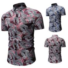2019 spring/summer business black and white Polos men's o collar short-sleeved minimalist design top Hawaiian print shirt(China)
