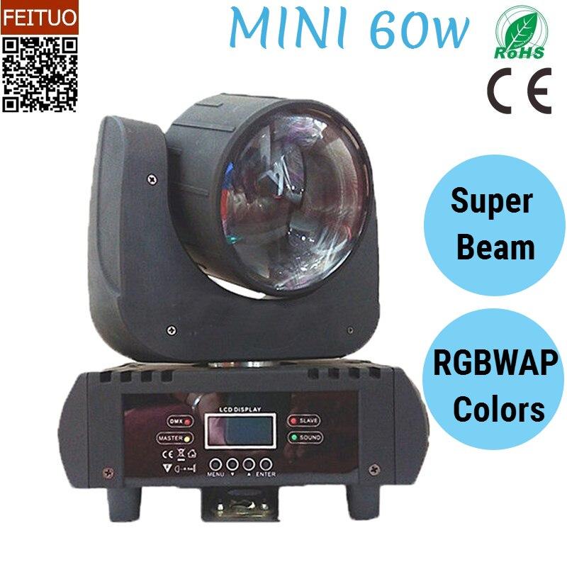 6 pcs/lot Mini 60 w Super Faisceau LED Tête Mobile Lumière RGBWAP DMX512 60 watt Son Actif DJ Éclairage de Scène équipement