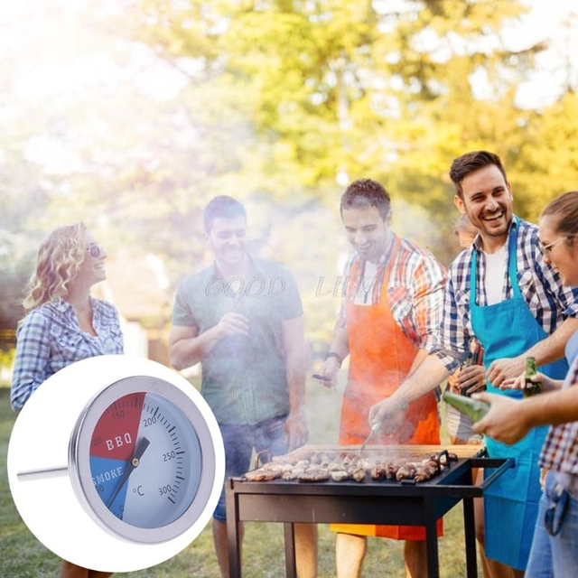 OOTDTY 300 Degrees Thermometer BBQ Smoke Grill Oven Temperature Gauge Outdoor Camp Tool