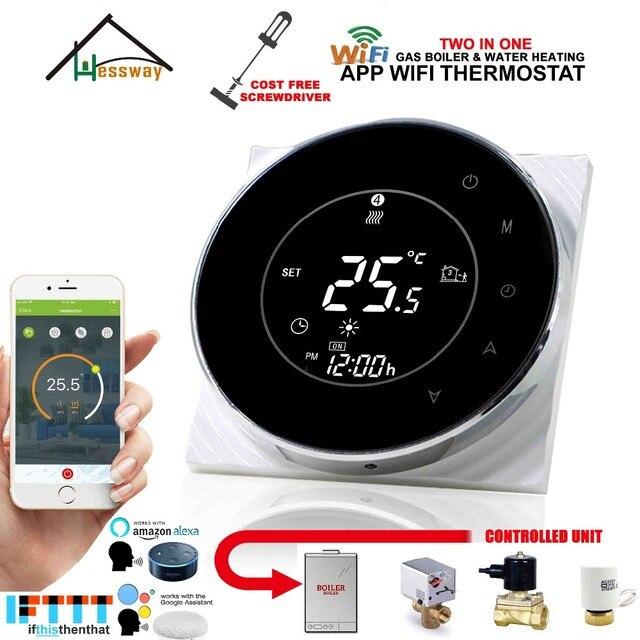 Válvula de agua 3A, controlador de temperatura de actuador eléctrico WIFI termostato inteligente caldera de gas para trabajar con Alexa Google home