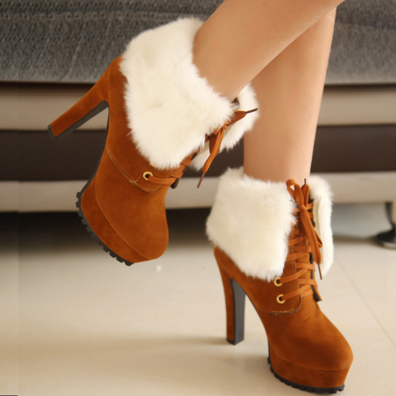 a6bdf449d999 2015 New Hot Fashion Women s Ankle Boots High Heels winter warm snow pumps women s  flock boots lace up sexy lady stiletto-in Ankle Boots from Shoes on ...
