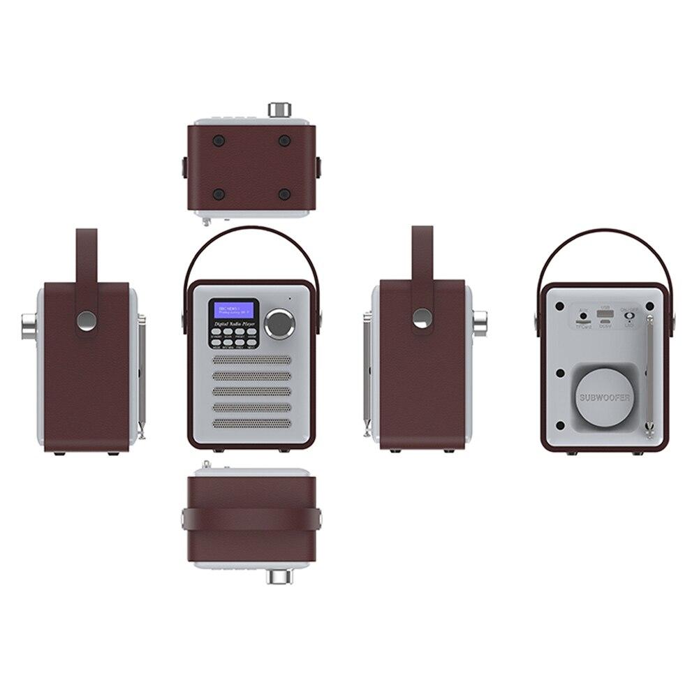 Récepteur FM DAB Audio stéréo numérique Radio lecteur MP3 Portable Rechargeable Bluetooth USB bois rétro affichage LCD - 6