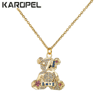 Women Necklace Cute Little Bear Pendant With Shining Colorful Austrian Zircon Crystal Gold Color Jewelry