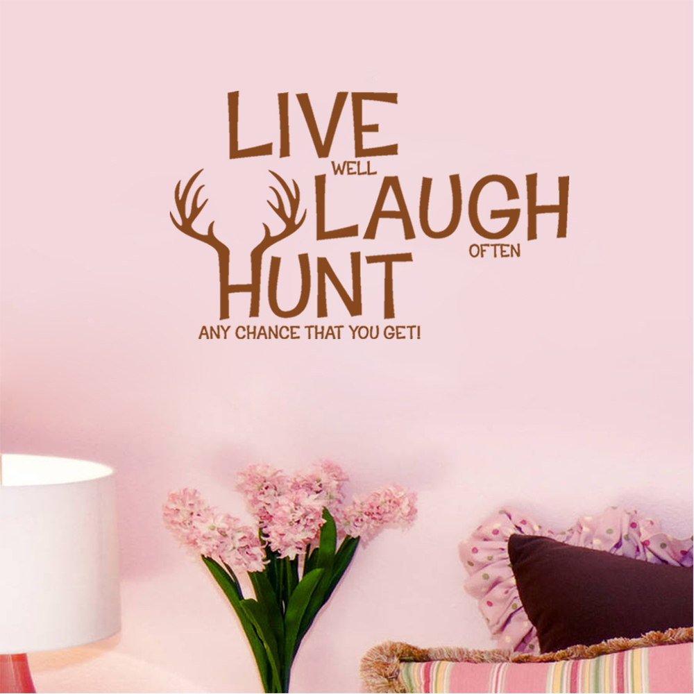 Live Laugh Hunt Quotes Wall Stickers Retail Love Deer Hunting Decals Pvc Removable Home Decor