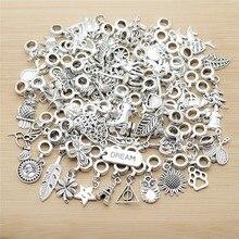 Микс 50 шт. старинные серебряные талисманы Европейский бисер, подвеска Подходит для Пандора стиль Браслеты ожерелье DIY Металлические Ювелирные изделия
