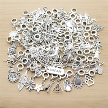 New mix 50pcs Tibetan Silver charms European bead Charm fit for pandora style Bracelets Necklace DIY Metal Jewelry Making 50pcs tibetan silver cute roller skate ditsy charm necklace sp chain xa18