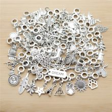 New Mix 50pcs Vintage Silver Charms European Bead Charm fit for pandora style Bracelets Necklace DIY Metal Jewelry Making(China)