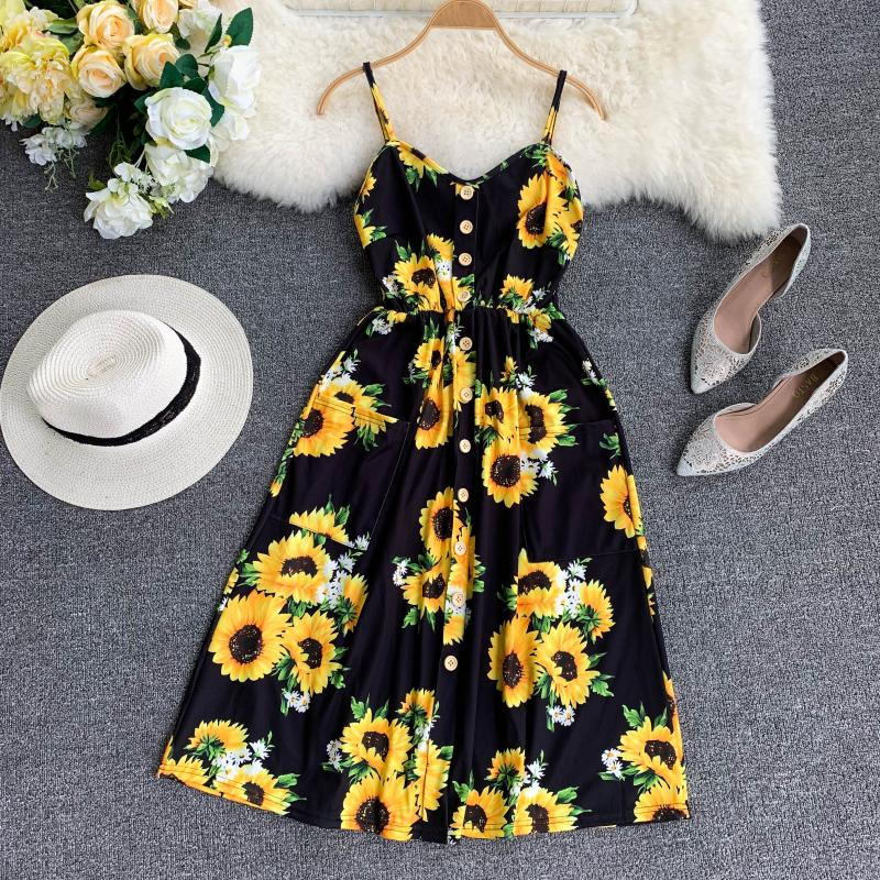 Nouveau tournesol imprimé col en v simple boutonnage sans manches dos nu Double poche a-ligne pour les robes de vacances robes d'été G591