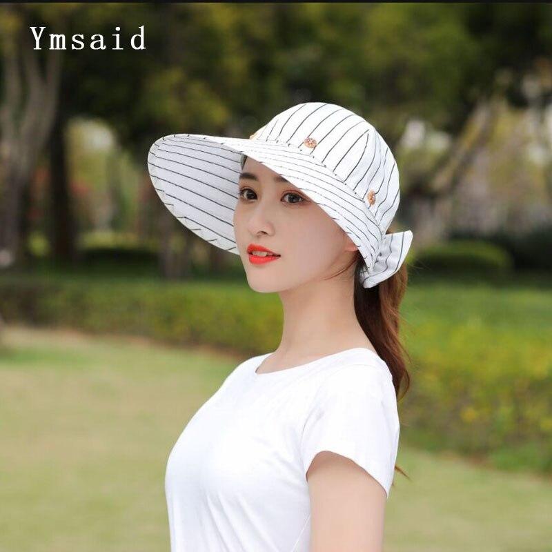 Ymsaid Women Wide Large Brim Floppy Summer Beach Empty Top Hat Sun Hat Button Cap Summer Hats For Women Anti-uv Visor Cap Female