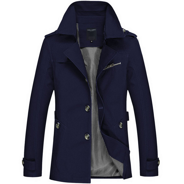 New Arrival Fashion Style Men Large Size Jackets Good Quality Solid Male Tops Trench Coat Five Colors Slim Looking Full Sleeve