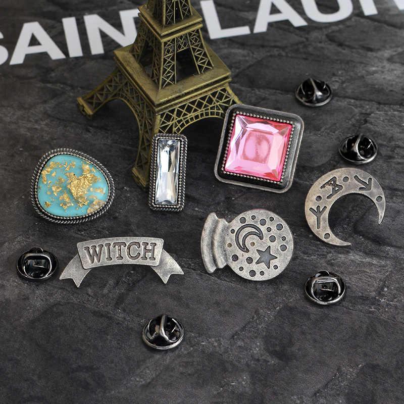 Creative Star Moon sorcière rouge blanc bleu gemme broche mode personnalité métal émail Pin vêtements sac à dos Badge meilleur cadeau