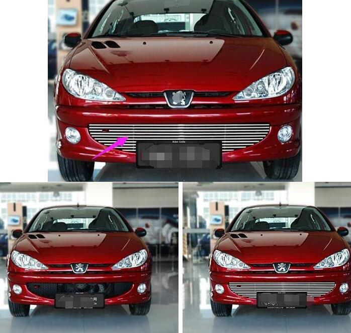 For 2004-2008 Peugeot 206 High quality stainless steel Front Grille Around Trim Racing Grills Trim abs chrome front grille around trim racing grills trim for peugeot 206 207