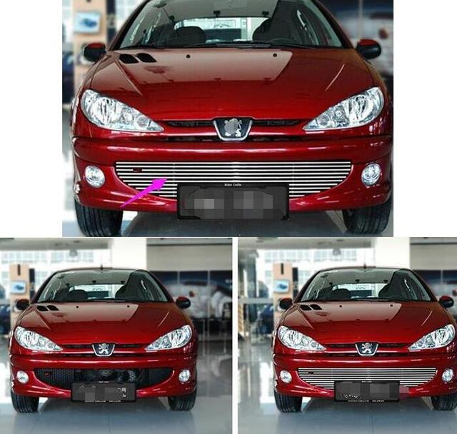 For 2004-2008 Peugeot 206 High quality stainless steel Front Grille Around Trim Racing Grills Trim
