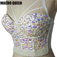 Holographic handmade Sexy Women Mermaid Crystal Rhinestone Bustier White Embroidered Jeweled Pearl Bustier Bra Crop Top