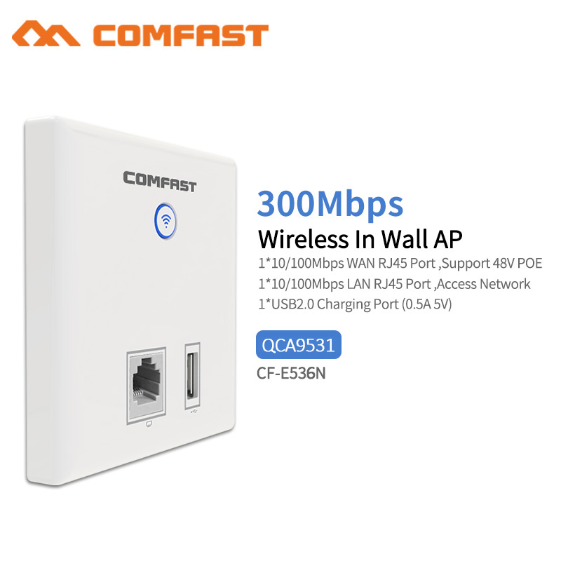 20pc 300Mbps Wireless In Wall Access Point Indoor 86 Panel USB Client AP POE 48V SSID 2.4G 802.11n 10/100M WAN LAN WiFi Repeater