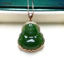 купить Certified Natural Hetian Jasper Inlaid 18K Gold Lucky Buddha Jade Pendant Hand Carved  High Quality s925 Necklace Birthday Gifts дешево
