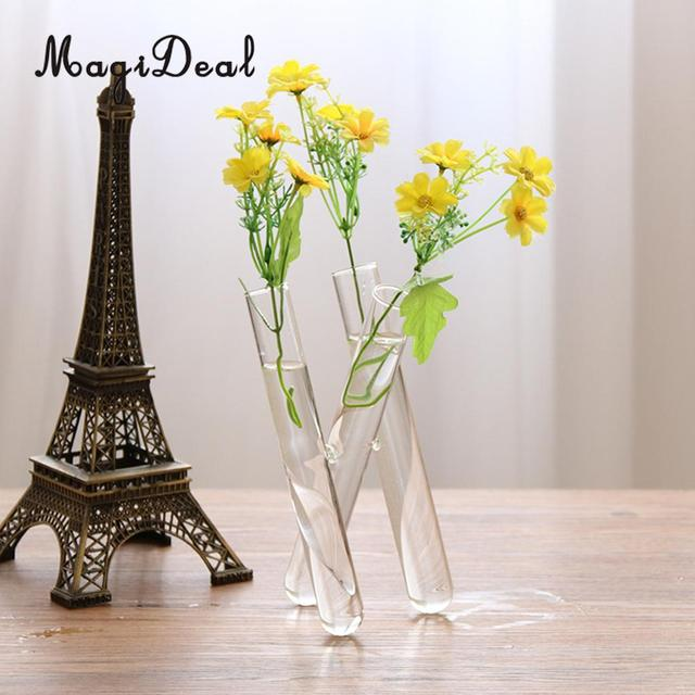 MagiDeal 20cm Glass Flower Vase Small Fresh 3 Clear Test Tube Conjoined Home Office Coffee Shop Decor Water Plant Hanging Vase & MagiDeal 20cm Glass Flower Vase Small Fresh 3 Clear Test Tube ...