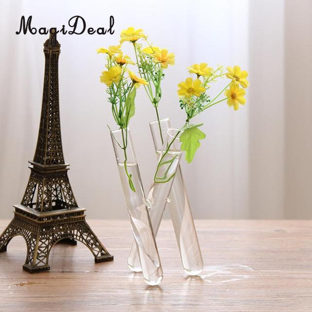 Magideal 20cm Glass Flower Vase Small Fresh 3 Clear Test Tube