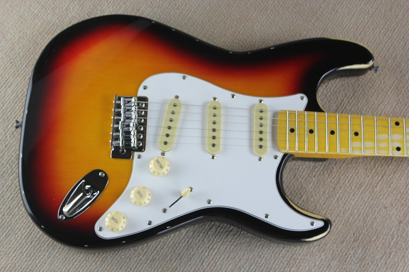 free shipping ST sunburst Electric Guitar maple fretboard white pickguard 7 25 argerich maisky beethoven cello son op 69 102