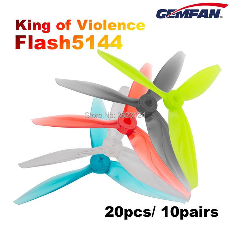 20pcs/10pairs GEMFAN Flash 5144 3 Blade Propeller High-speed Violence For 4s 6s FPV Racing Drone Quadcopter