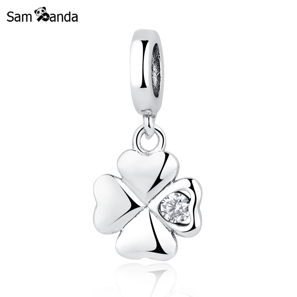 Authentic 100% 925 Sterling Silver Charm Bead Lucky Day Clover Pendant Charms Crystal CZ Fit Pandora Bracelets Women DIY Jewelry 2015 new spring 925 sterling silver pumpkin charm with gold and cz bead fits pandora bracelets in stock 1pc lot b520