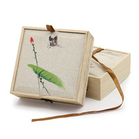 Free Real Shipping 2019 New Gift For Paulownia Linen Hand painted Bracelet Series Of Packaging The Spot Wholesale Jewelry Boxes