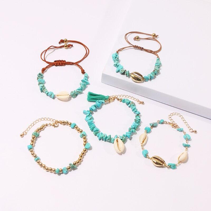 KOMi 1/2/4/5pcs/set Colorful Handmade Beach Rainbow Shell Tassel Coral Turquoises Pearls Beaded Charm Anklets Bracelet C10515