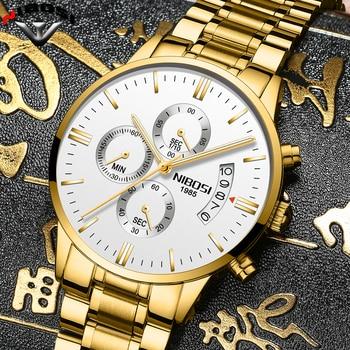 2019 NIBOSI Luxury Brand Watches Men Fashion Sport Military Quartz Watch Men Full Steel Waterproof Clock Man Relogio Masculino 1