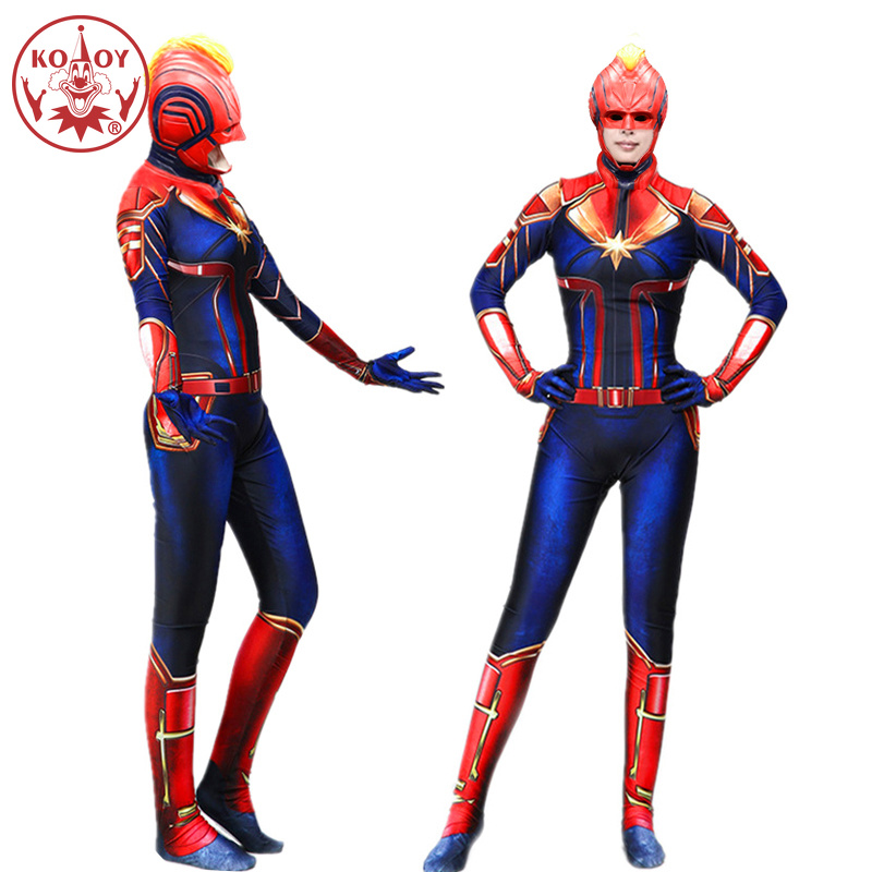 Movie Captain Marvel Cosplay Costume Women Adult Superhero Halloween costume Marvel Carol Danvers Bodysuit Jumpsuits