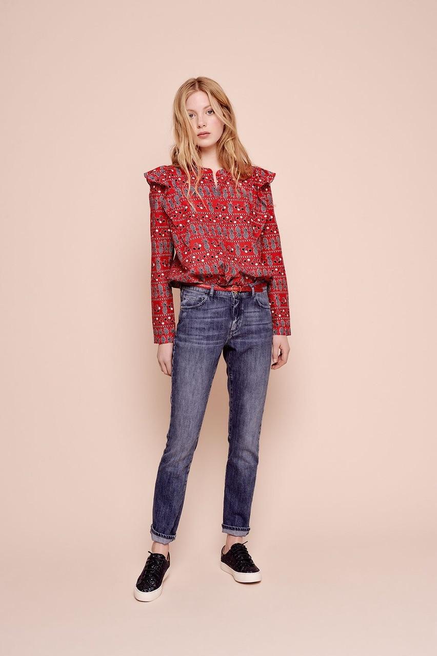Chemise femme automne doux ananas imprimé épaule à volants ouvert à manches longues chemise femmes Blouse femmes hauts Viscose Blouses
