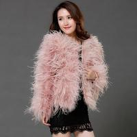 Harppihop fur winter Ostrich fur jacket feather fur coat casual long sleeved Australia imported fur ostrich jacket free shippin