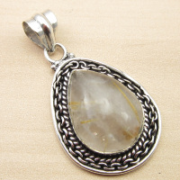 ETHNIC Pendant Jewelry GOLDEN RUTILE Quartzs Silver Plated 1 7 NEW