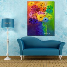 Hot sale purpleflower morden 100% Handmade oil Painting Picture on the Wall art home Decoration Abstract Canvas for room