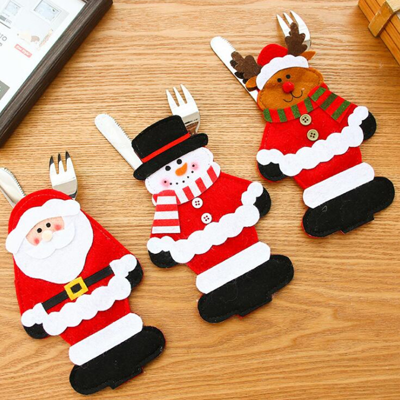Christmas Stocks Stocking Tableware Silverware Party Cutlery Holder Pouch Bag