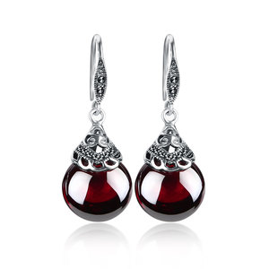 Image 4 - JIASHUNTAI Retro 100% 925 Sterling Silver Jewelry Sets Vintage Pendant Necklac Drop Earrings For Women Natural Stone
