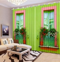 3D Curtain Modern Luxury 3D Curtains Green Wall Windows Drapes For Bedroom Living Room Office Hotel Cortinas