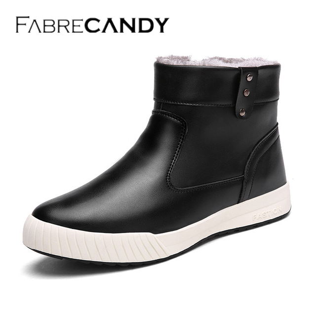 FABRECANDY Hot Newest Keep Warm Men Winter Boots High Quality pu Leather Casual Boots Working Fahsion Boots men shoes Plus size fabrecandy high quality men casual shoes autumn mesh lovers shoes light weight breathable men shoes sneakers plus size 35 47