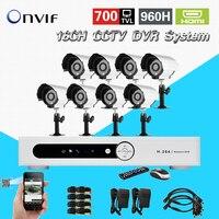 700TVL системы видеонаблюдения 16ch DVR 8 шт. 700TVL ИК камеры 16 канальный dvr комплект камеры безопасности системы видеонаблюдения, CK 203