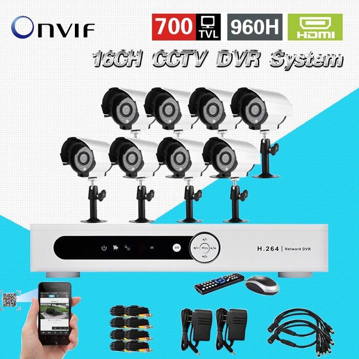 TEATE 700TVL CCTV System 16ch DVR 8pcs 700TVL Outdoor IR Cameras 16channel DVR Kit Security Camera surveillance System, CK-203 система видеонаблюдения ngtechnic 8 8 cctv 8 2 dvr 1008 d626bcm 700 c