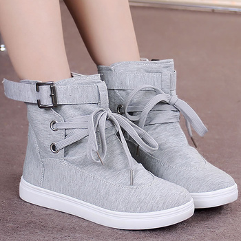 Women's canvas shoes solid simple style women vulcanize sneakers lace-up High top height increasing non-slip 2019 new fashion