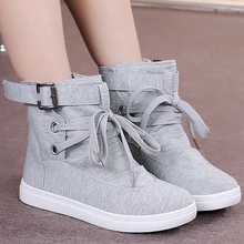Women's canvas shoes solid simple style women vulcanize sneakers lace-up height increasing non-slip 2019 new fashion