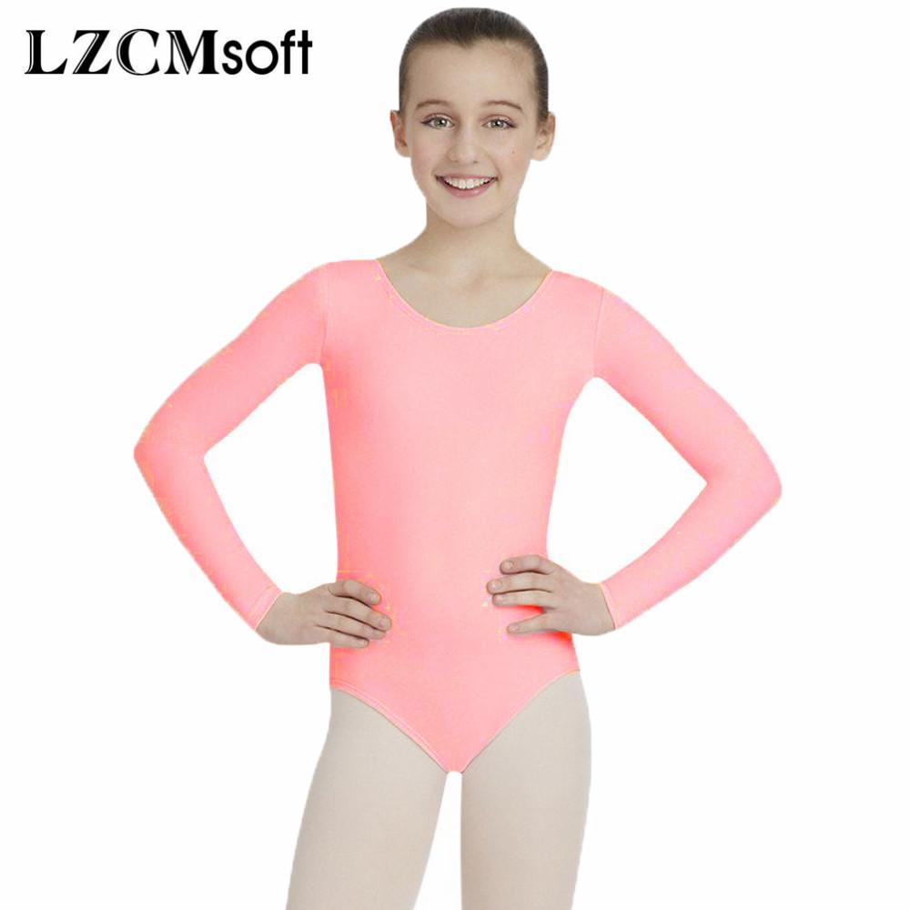 362406476965 LZCMsoft Girls Pink Scoop Neck Ballet Leotards Todder Long Sleeve ...