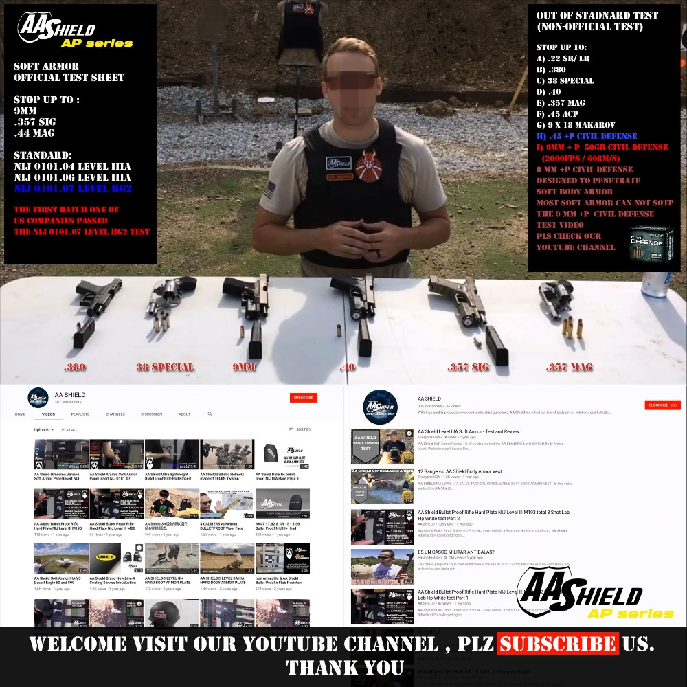 US $69 99 |AA Shield Bullet Proof Soft Armor Panel Body Armor Inserts  Safety Plate Aramid Self Defense Supply NIJ Lvl IIIA & HG2 6x8 Pair-in Self