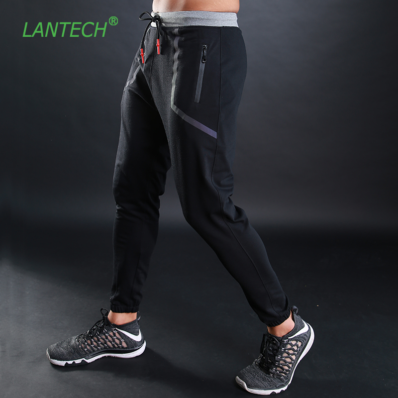 LANTECH Men Pants Running Joggers Training Sports Sportswear Fitness Exercise Gym Elastic Pencil Pants Pocket Zipper Trousers mid rise zipper fly pocket casual pants