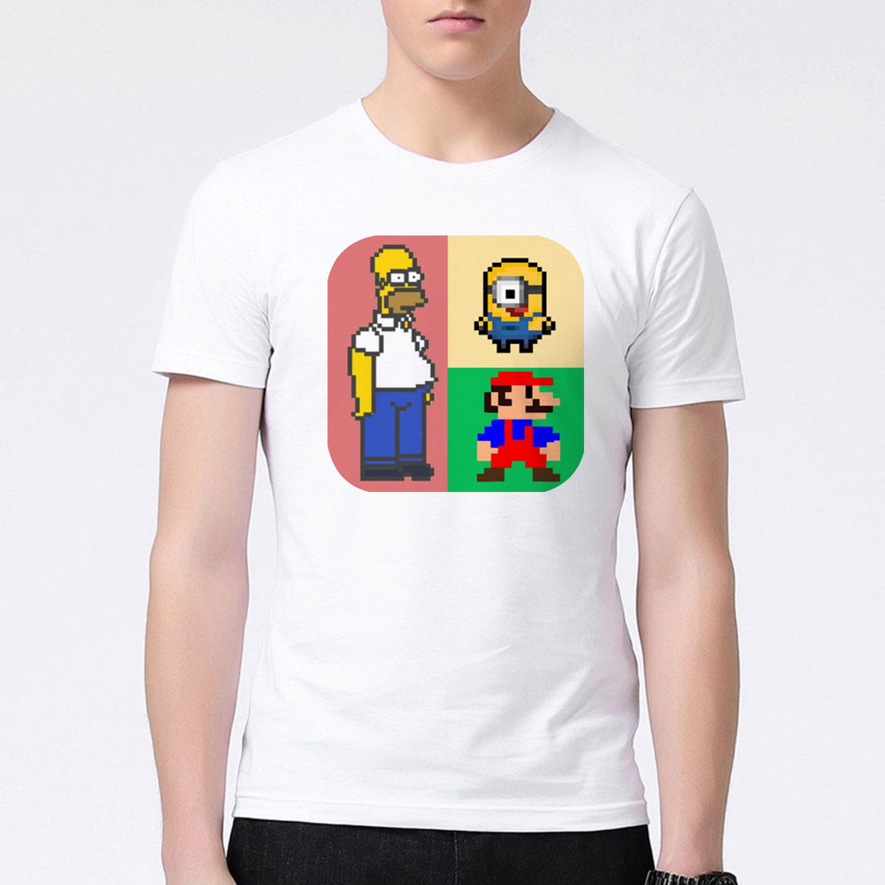 Design t shirt games online - Popular Video Game Super Mario Brothers Design Printed T Shirt Fashion Men Boy Cartoon Short