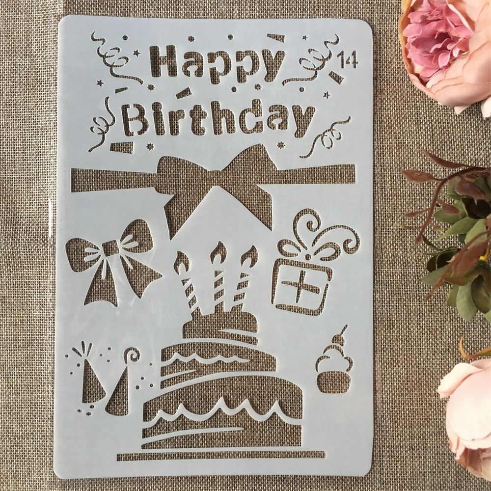 New 26cm Happy Birthday Cake DIY Craft Layering Stencils Painting Scrapbooking Stamping Embossing Album Paper Card Template
