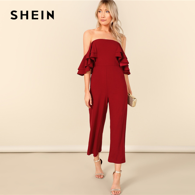 25e011b82 SHEIN Burgundy Zip Back Layered Ruffle Bardot Sexy Jumpsuit Women Off the  Shoulder Skinny Wide Leg Solid Summer Party Jumpsuits-in Jumpsuits from  Women's ...
