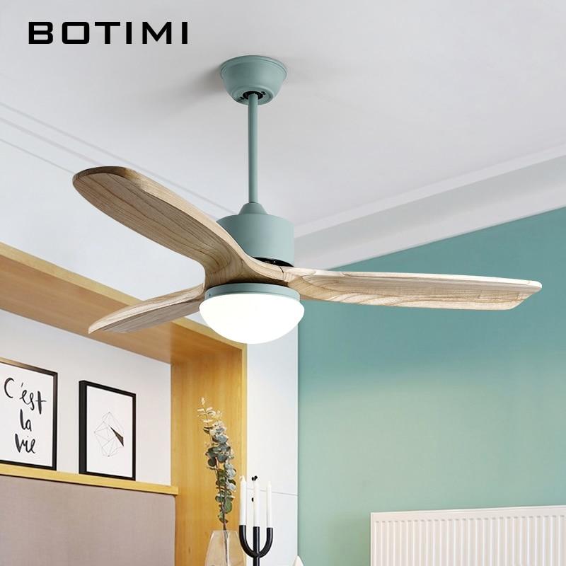 BOTIMI 220 V Ventiladores De Teto Com Luzes Para Sala de estar Lâmpada Nordic Ventilateur Ventilador de Refrigeração Do Ventilador de Teto Remoto Luz
