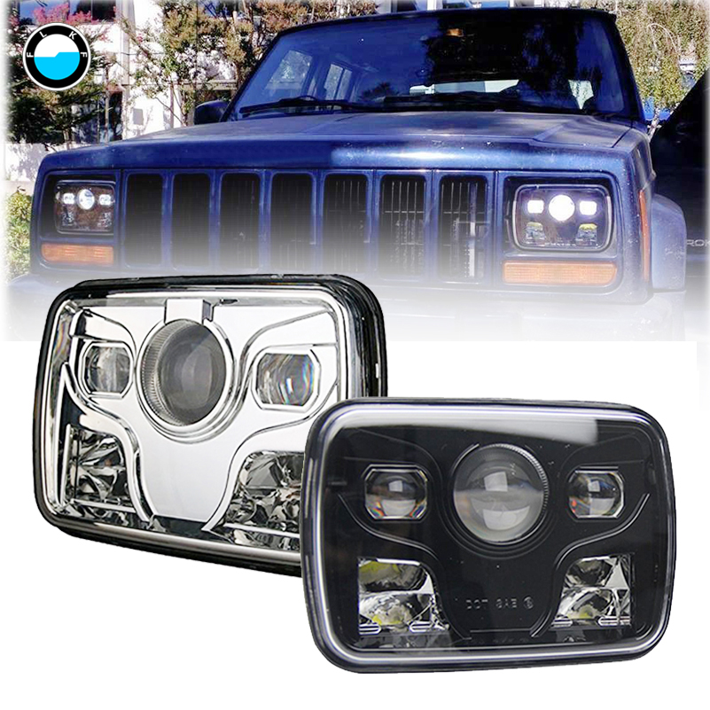 1 Pair Rectangular 5x7 Led Headlight High Low Beam Headlamp For Jeep Wrangler YJ Cherokee XJ Trucks for Jeep Offroad. 1 pair 7 inch rectangular led headlight