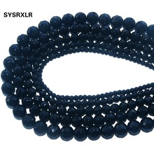 цена Wholesale Faceted Natural Stone Black Glass Loose Round Beads For Jewelry Making DIY Bracelet Necklace 4 6 8 10 12 MM Strand онлайн в 2017 году